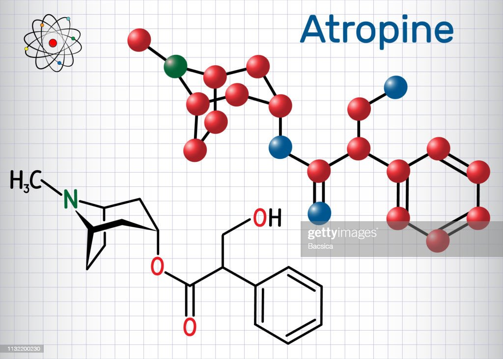 Atropine drug molecule. It is plant alkaloid. Sheet of paper in a cage. Structural chemical formula and molecule model