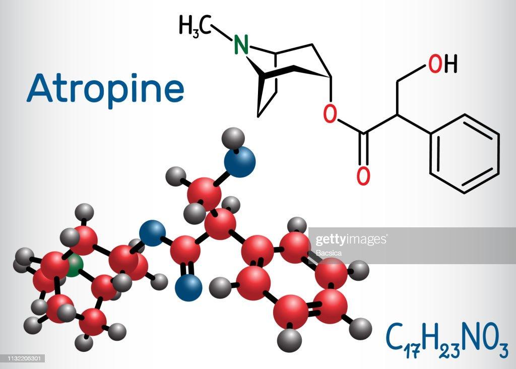 Atropine drug molecule. It is plant alkaloid. Structural chemical formula and molecule model