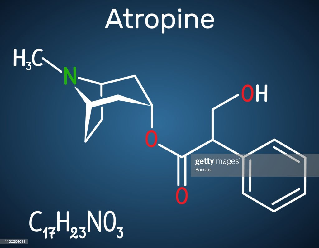 Atropine drug molecule. It is plant alkaloid. Structural chemical formula on the dark blue background