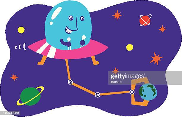 attack of the space alien - discus stock illustrations, clip art, cartoons, & icons