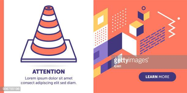 attention banner - cone shape stock illustrations