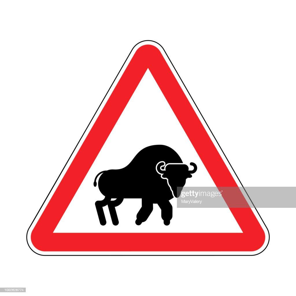 Attention Bison. Caution Aurochs. warning Zubr. Admonition Wild Bull Buffalo. Red Danger Triangle Road sign. Vector illustration.