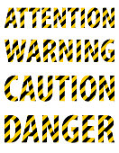 Attention caution danger warning text from striped letters in the form of a protective yellow-black tape.  White background. Vector illustration