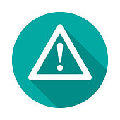 Attention circle icon with long shadow. Flat design style.