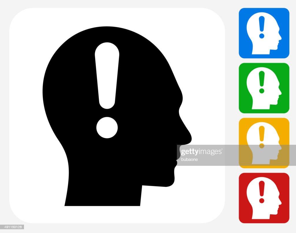 Attention Head Icon Flat Graphic Design