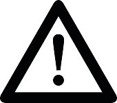 Attention icon. Black, minimalist icon isolated on white background.