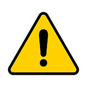 Attention icon. Warning sign. Exclamation point. Vector illustration