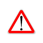 Attention or caution triangle sign symbol. Vector.
