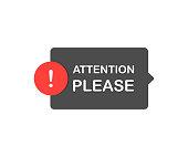 Attention please bubble. Flat cartoon style. Modern line vector illustration