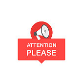 Attention please bubble with megaphone. Flat cartoon style. Modern line vector illustration