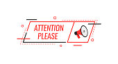 Attention please bubble with megaphone. Flat cartoon style. Modern vector illustration