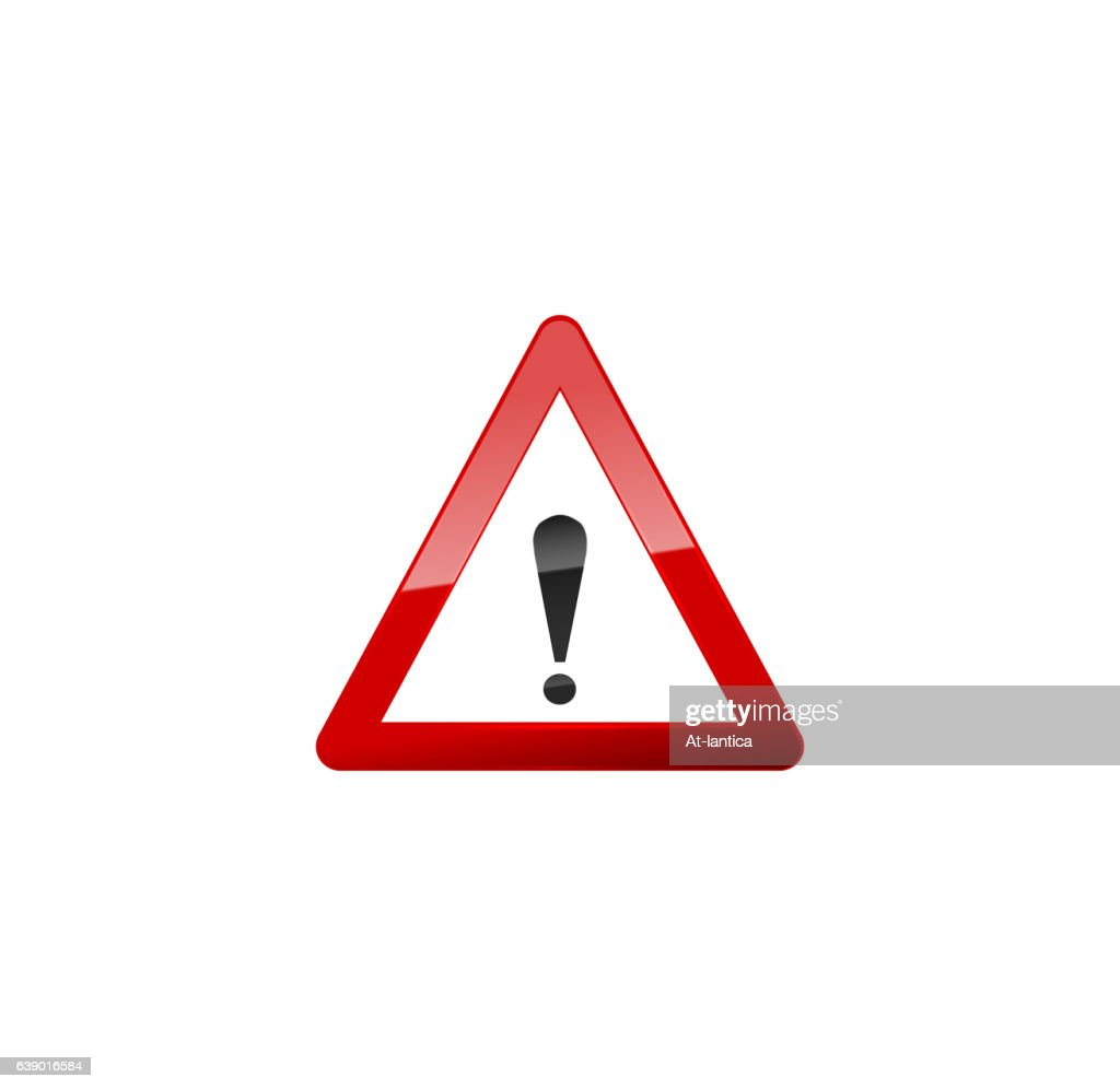 Attention Red Sign, Icon on white.