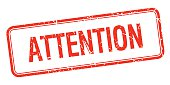 attention red square grungy vintage isolated stamp