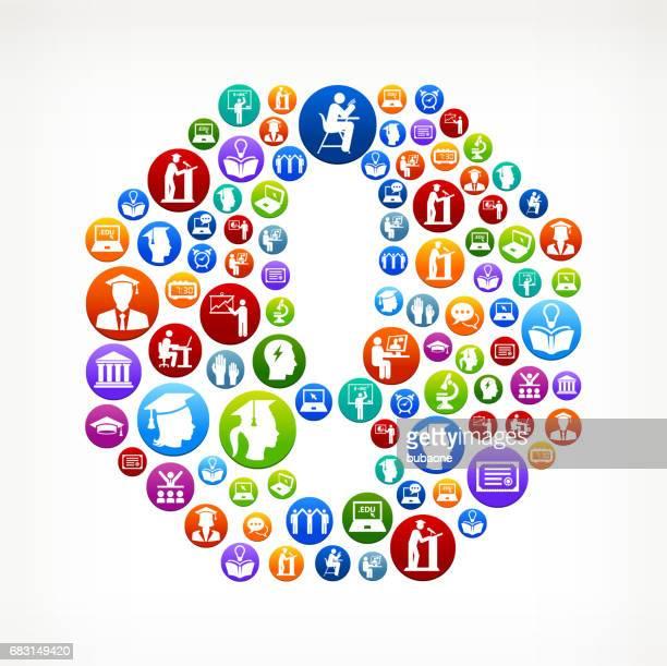 ilustraciones, imágenes clip art, dibujos animados e iconos de stock de signo de atención e-learning y universidad educación vector patrón de botón - gracias por su atencion