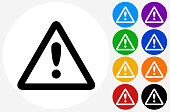 Attention Sign Icon on Flat Color Circle Buttons