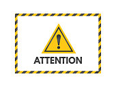 Attention sign with black and yellow ribbons. Exclamation mark isolated on white background. Pay attention banner. Yellow triangle on white backdrop. Danger symbol concept. Vector illustration
