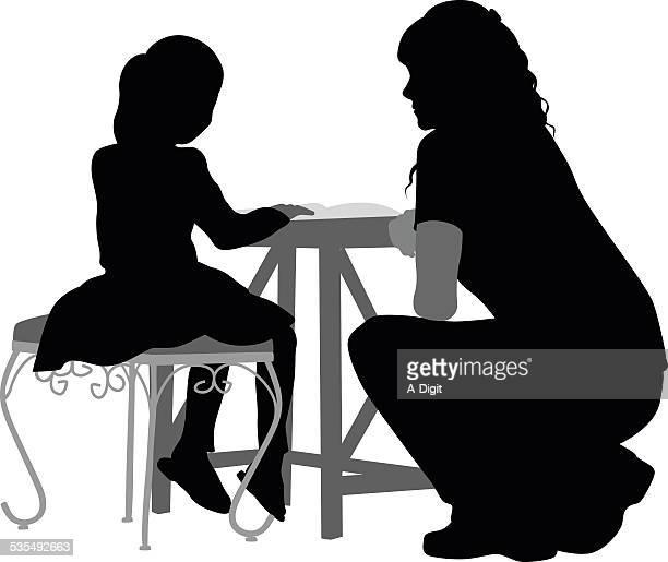ilustraciones, imágenes clip art, dibujos animados e iconos de stock de attentivemom - madre e hija