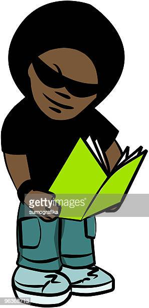 attitude boy reads a book