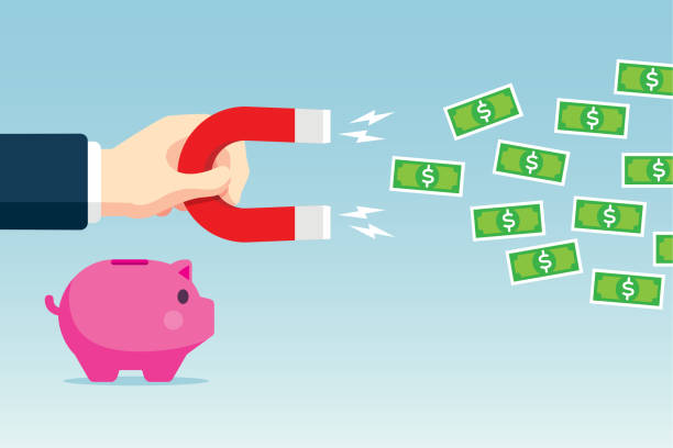 attracting money - magnet money stock illustrations