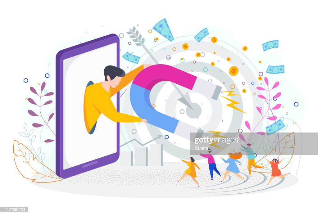 Attracting potential customers. Marketing communications with target audience. : stock illustration