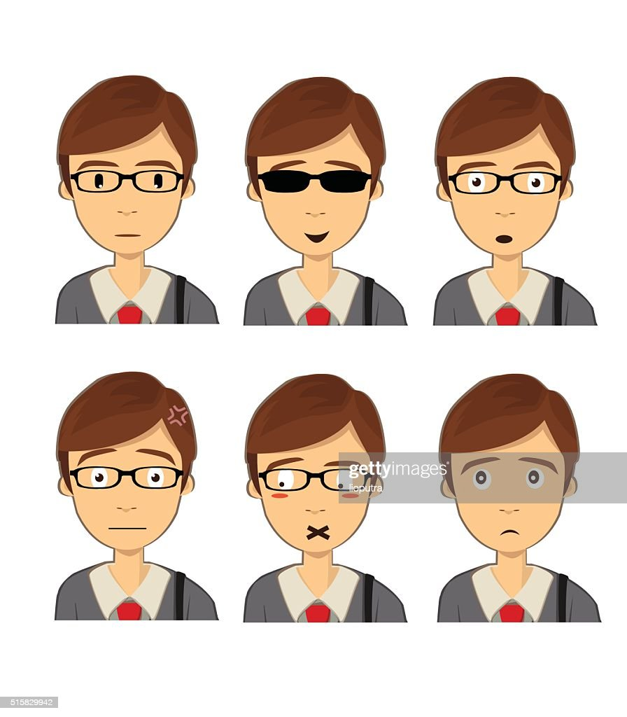 Attractive brown haired man with different face expressions. Vector Isolated