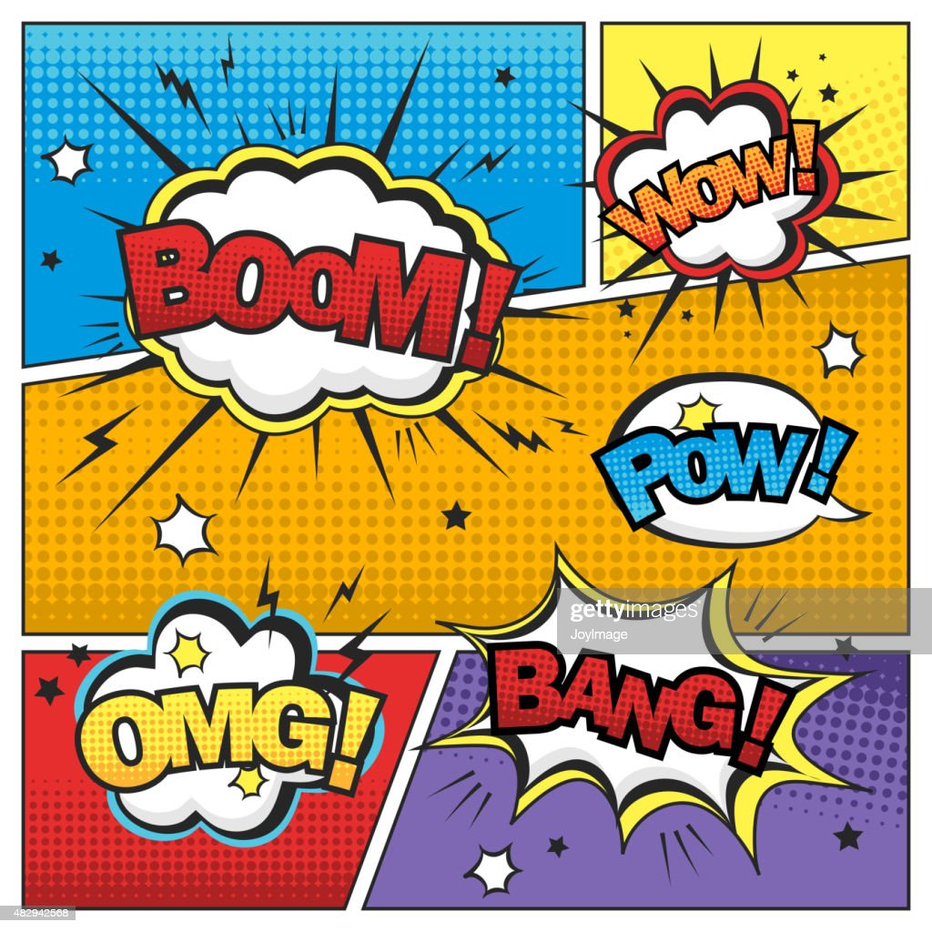 attractive comic sound effect set