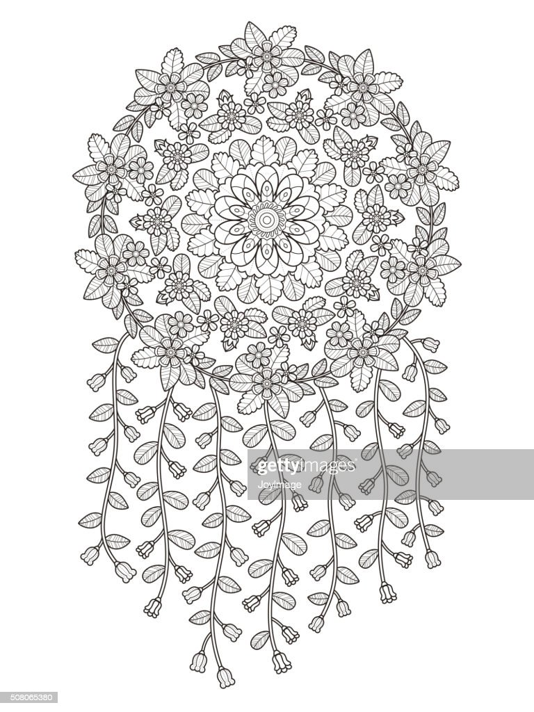 attractive floral coloring page vector art getty images