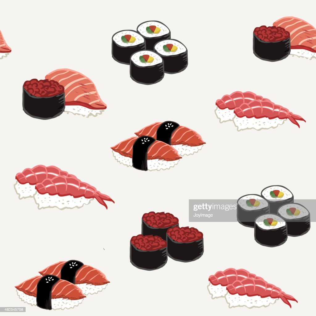 attractive sushi collection set seamless background