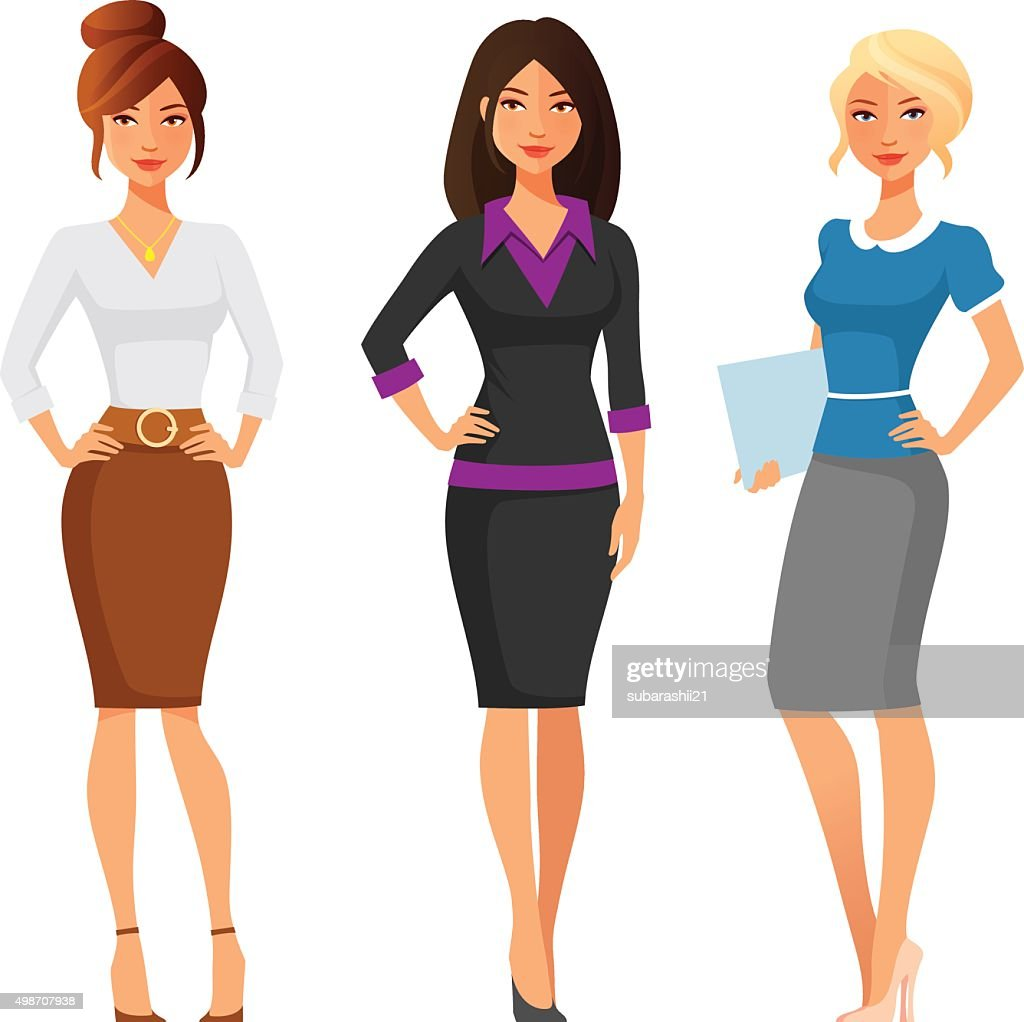 attractive young women in elegant office clothes
