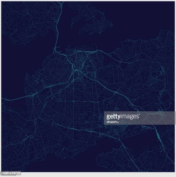auckland city of new zealand art illustration style map - auckland stock illustrations