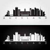 Auckland skyline and landmarks silhouette, black and white design, vector illustration.