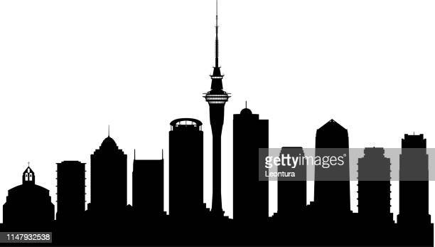 auckland (all buildings are complete and moveable) - auckland stock illustrations