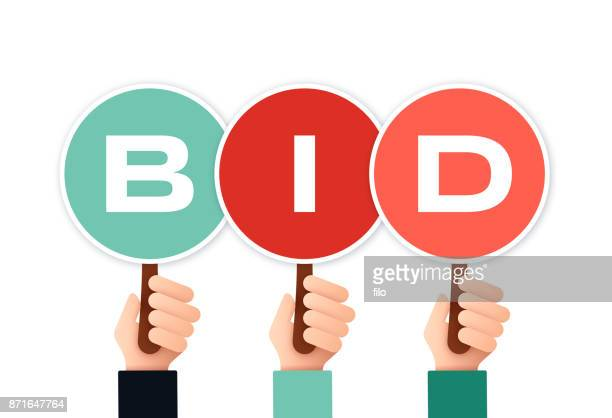 auction bidders - holding stock illustrations, clip art, cartoons, & icons