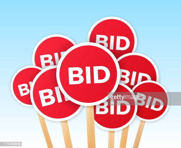 auction bidding - bid stock illustrations