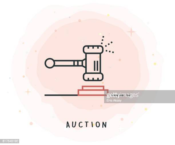 Auction Icon with Watercolor Patch