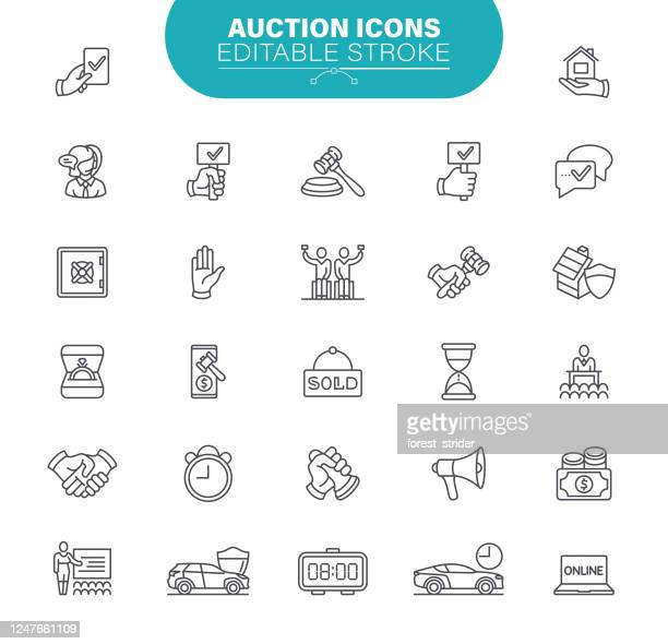 auction icons. set contains icon as price, bidding, agent, auction hammer, safety, illustration - bid stock illustrations