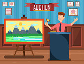 Auction of Landscape Painting with Auctioneer.