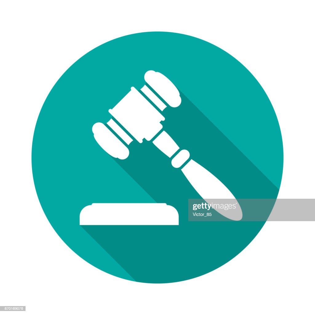 Auction or judge gavel circle icon with long shadow. Flat design style.