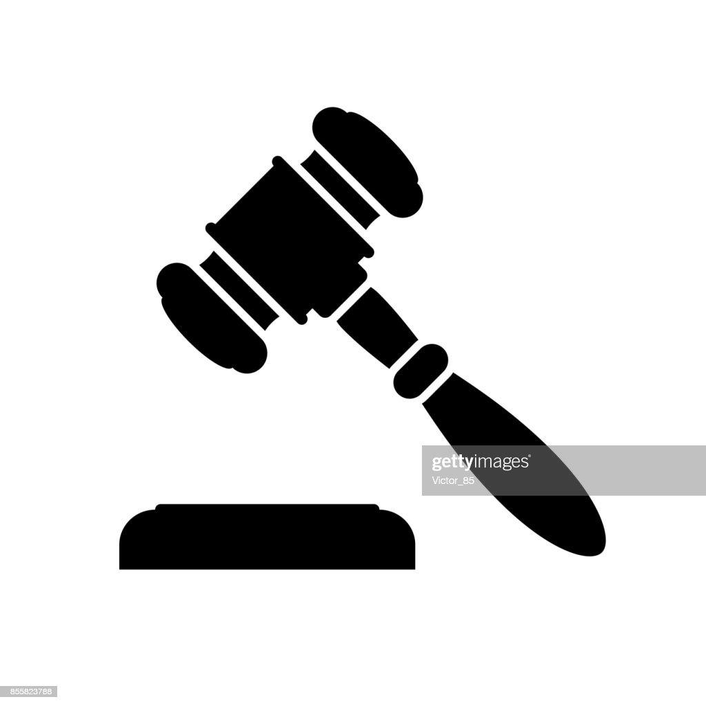 Auction or judge gavel icon. Black, minimalist icon isolated on white background.