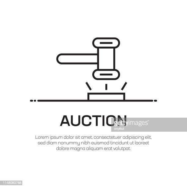 auction vector line icon - simple thin line icon, premium quality design element - bid stock illustrations