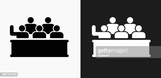 Audience Icon on Black and White Vector Backgrounds