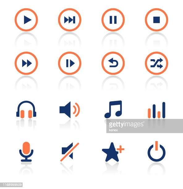 audio and media two color icons set - shuffling stock illustrations