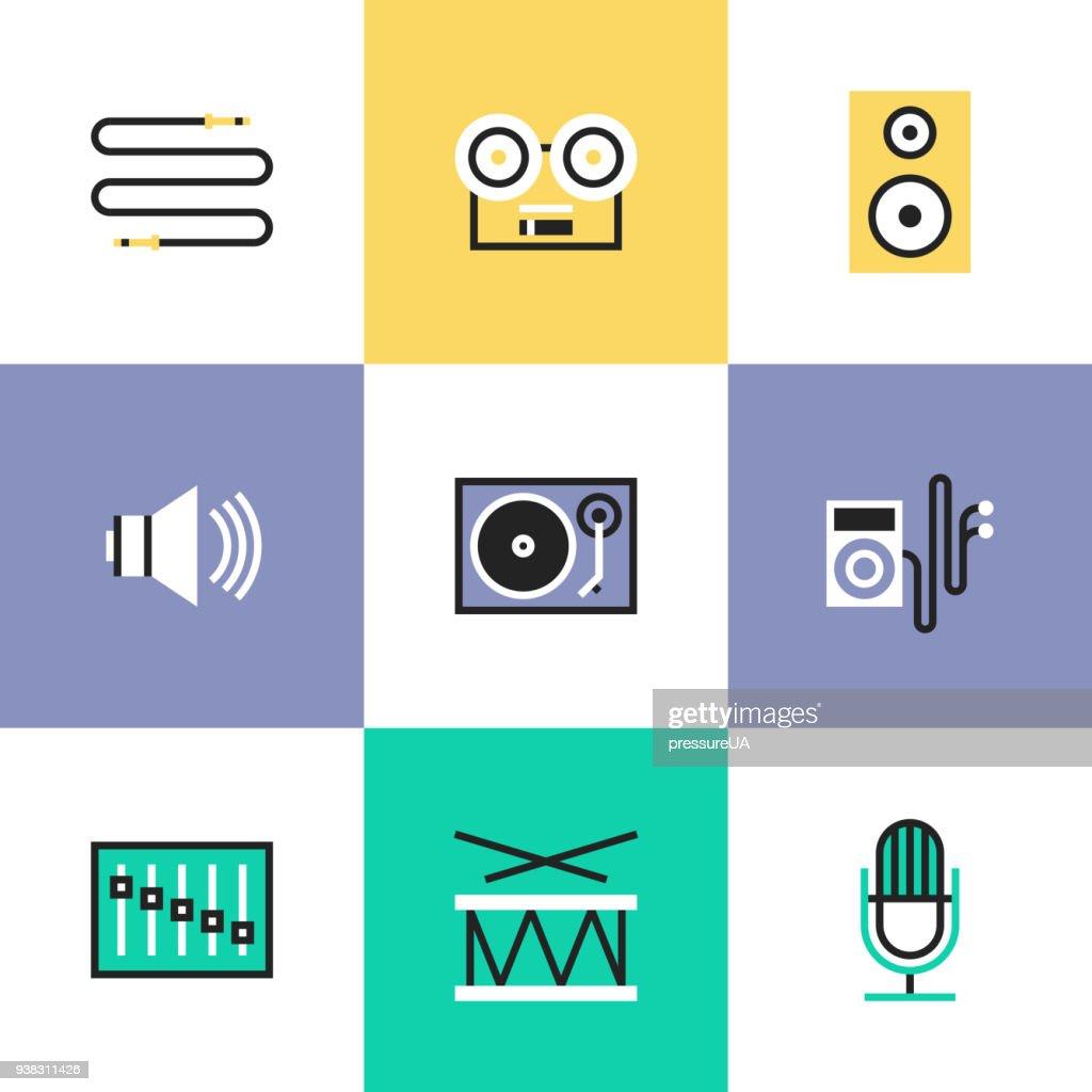 Audio and sound pictogram icons set