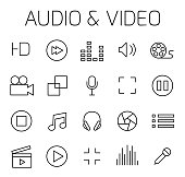 Audio and video related vector icon set.