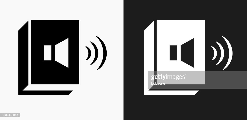 Audio Book Icon on Black and White Vector Backgrounds