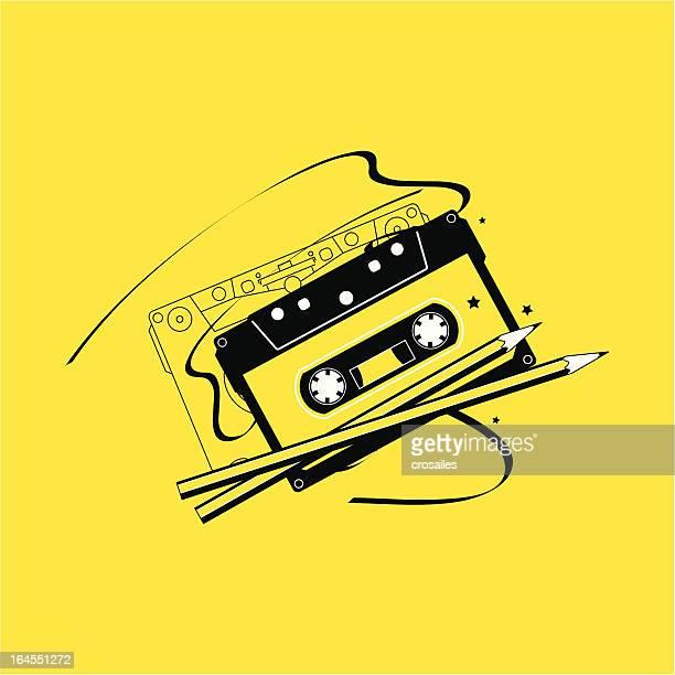 audio cassette tape and pencils - cassette stock illustrations, clip art, cartoons, & icons