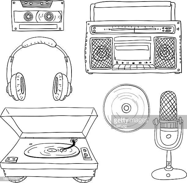 audio collection in black and white - headphones stock illustrations