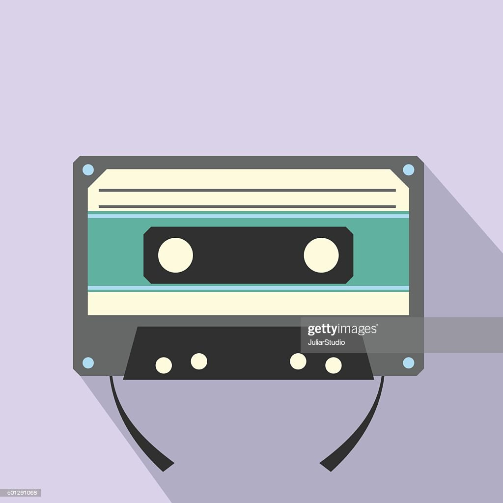 Audio compact cassette flat icon