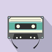 Audio compact cassette flat icon