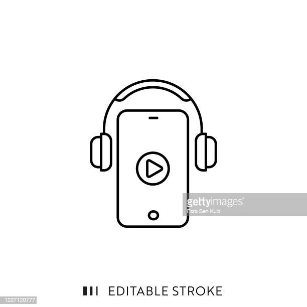 audio course line icon with editable stroke and pixel perfect. - headphones stock illustrations